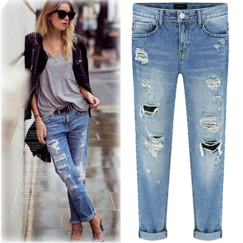 2017 Fashion Women Ripped Jeans femme Vintage Female Ladies Blue Denim Casual Pants Ankle Length Holes Trousers jeans womens 2017 spring korean fashion vintage badge ripped blue denim pants trousers long pencil pants jeans femme b67