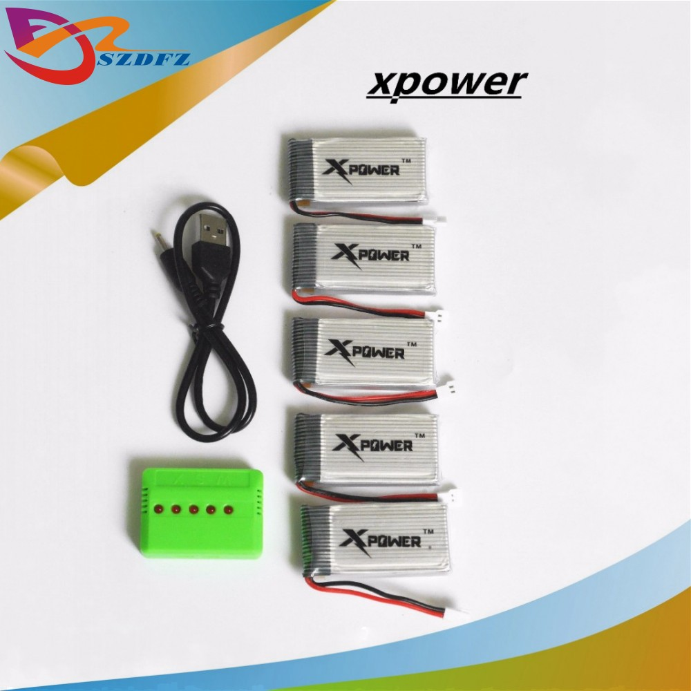 5pcs 37v 1200mah Xpower Li Polymer Lipo Battery 5 In 1 Usb Charger Device For Lithium Box Syma X5sw X5sc M18 H5p Drone Rc Quadcopter Parts Accessories From Toys