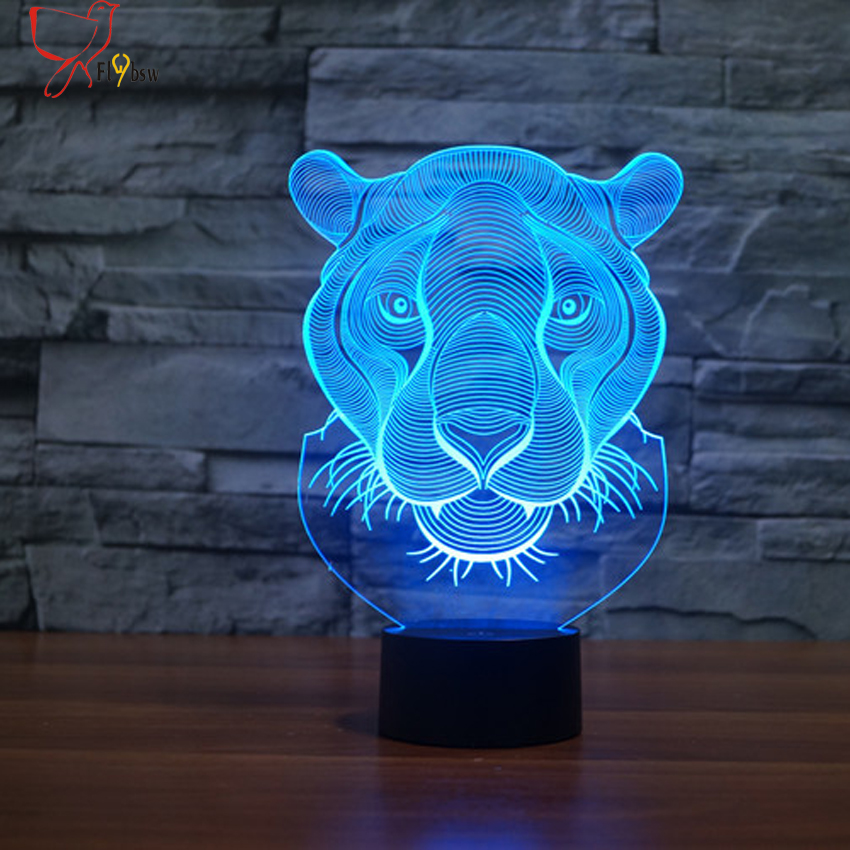 2017 Creative Lion Head Shape night light 7 Color Changing Animal Led 3D illusion Lamp USB LED Desk Table Lamp as Home Deco gift color change remote control led animal shape night light