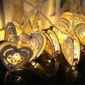 Tanbaby led novelty luz de hadas de cadena 1.2 metro 10 led madera corazón blanco cálido, RGB luz de la decoración para el dormitorio en casa de la boda