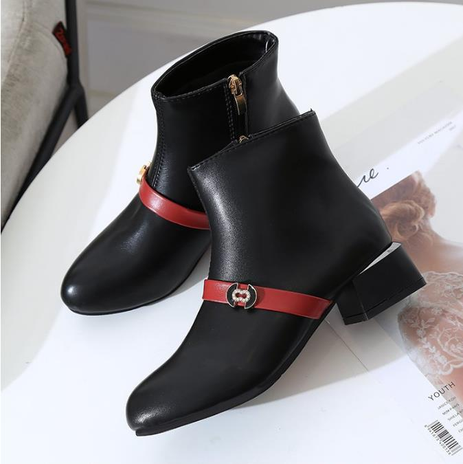 2018 autumn new women's shoes thick with color matching Korean version of the wild Martin boots