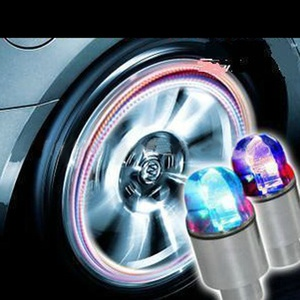 Hot Selling Cool Multicolor 2PCS Auto Accessories Bike Motor Supplies Neon Blue Strobe LED Tire Valve Caps Waterproof Durable(China)