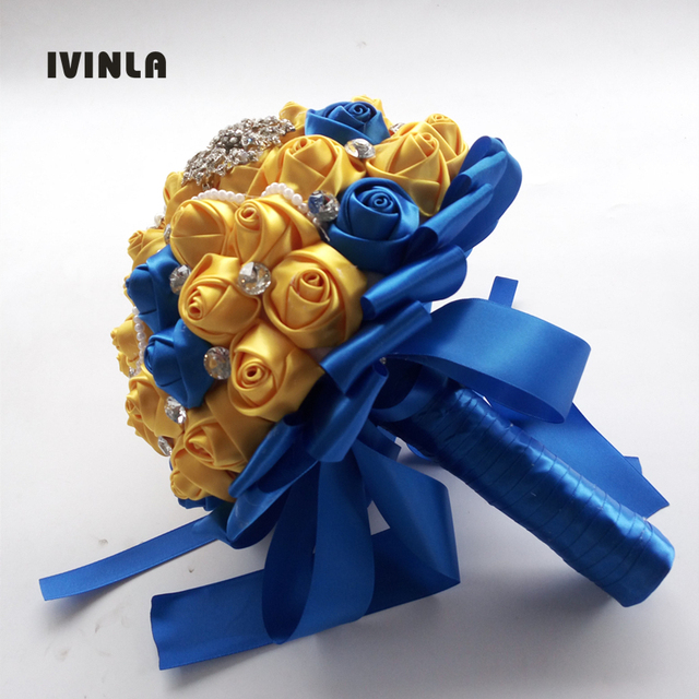 Hot Sell Gold Yellow And Blue Wedding Flower Bridal Bouquets Pearl
