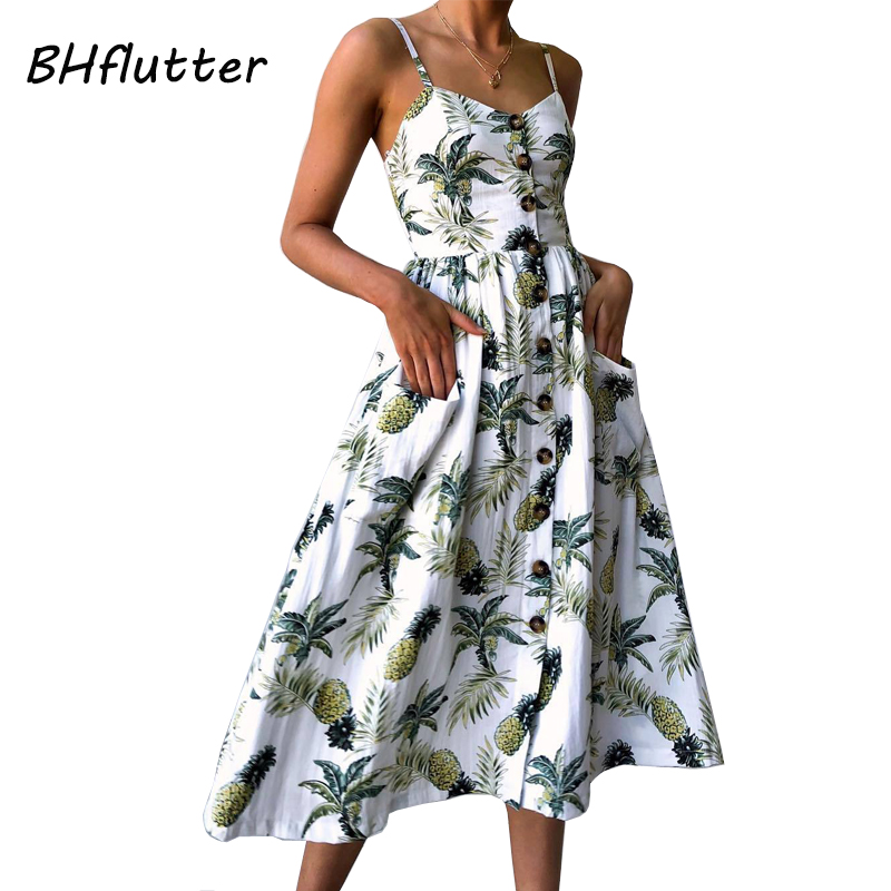 BHflutter Boho Style Beach Dress 2018 New Fashion Floral Print Casual Summer Dress Plus Size Buttons Strapless Midi Sexy Dress