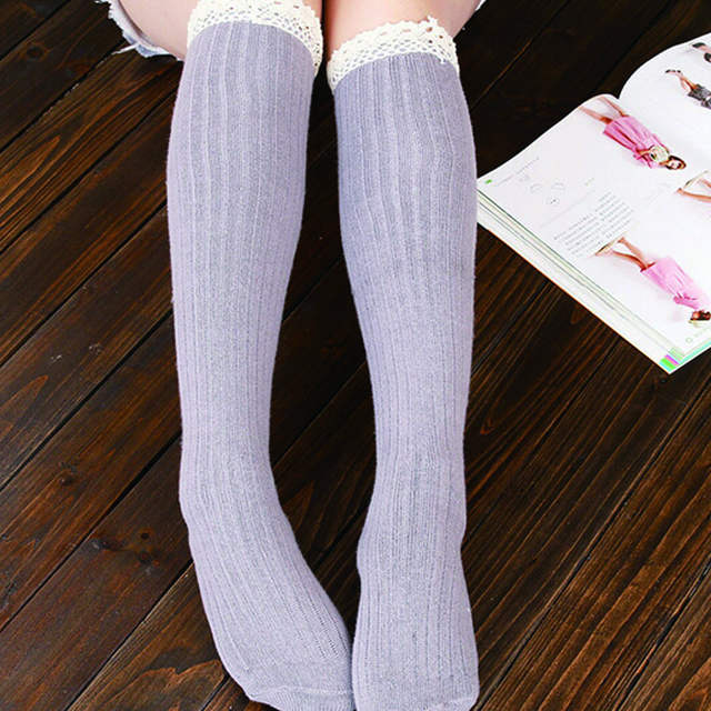 5f8d6b6752838 placeholder TOIVOTUKSIA Ladies Below Knee High Boot Warm Socks With Lace Long  Socks Women Thermal Long Socks
