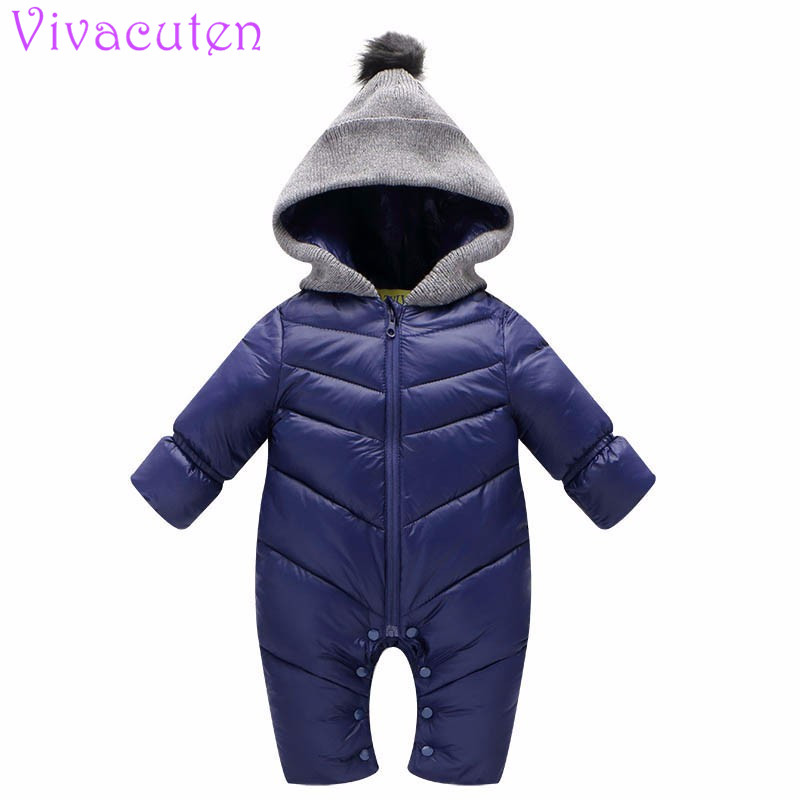 2018 New born Baby snowsuit down Romper windproof girl boy Super soft Warm spring autumn winter clothes with fur Hooded jumpsuit