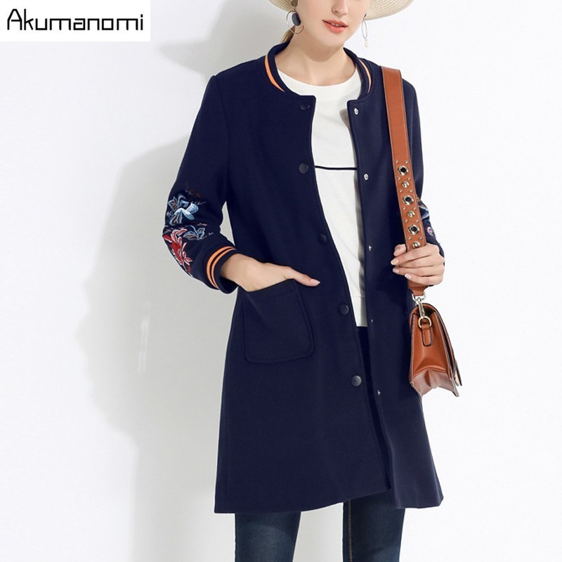 Women Blends Overcoat Navy Blue Winter Long Thicken Coats Embroider Patch Pocket Single Button Women Clothes Overcoat Plus Size