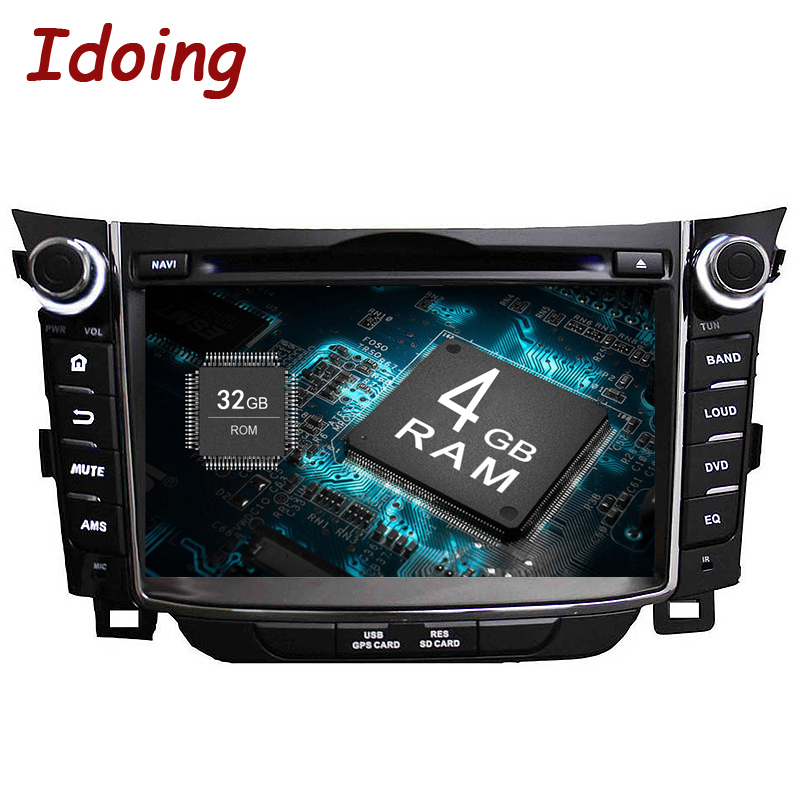 Idoing 2Din 7Android8.0 4G+32G Steering-Wheel Fit Hyundai I30 Car Multimedia Player GPS Navigation Bluetooth TV WIFI Radio 2d led panel light led recessed ceiling panel down light lamp warm white cool white ac85 265v 10w 15w 20w round type