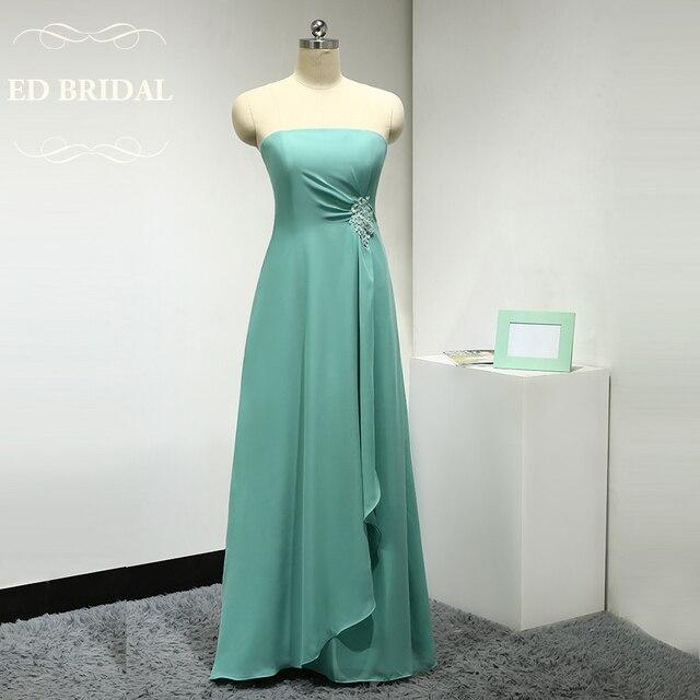 Nach Maß Trägerlosen Chiffon Mint Green Brautjungfer Kleid Lange ...