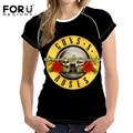 FORUDESIGNS Женщины 3D футболка С Коротким рукавом Мода Хлопок Плюс Размер Топы Рок-Группы Guns N 'Roses Печатных Футболку женский Футболка