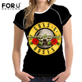 FORUDESIGNS Women 3D T shirt Short-sleeved Fashion Cotton Plus Size Tops Rock Band Guns N Roses Printed T-Shirt Female Tshirt