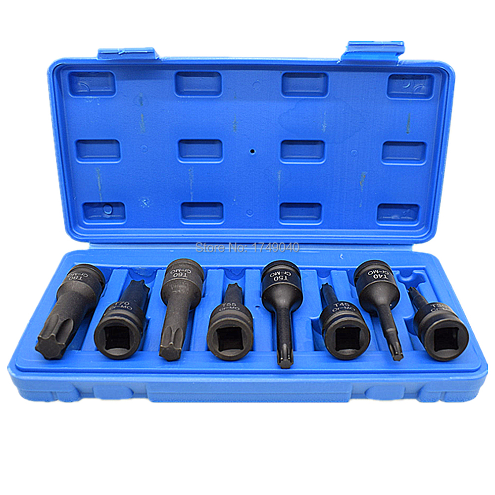 8 Piece Impact Torx Star Bit Socket Set T30 T40 T45 T50 T55 T60 T70 T80