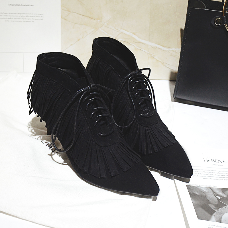 Women's Fringe Low Heel Ankle Boots Brand Designer Pointed Toe Short Booties Genuine Suede Leather Lace-up Comfortable Shoes Hot designer luxury designer shoes women round toe high brand booties lace up platform ankle boots high quality espadrilles boot