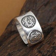 Ручной работы 999 серебряное кольцо с тигром дракона Китайское
