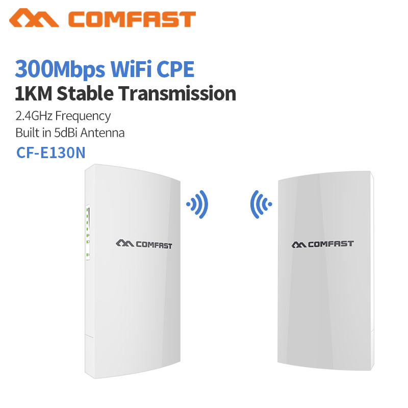 Comfast CF-E130N Wireless Outdoor CPE AP 1km Long Range 2.4Ghz 300Mbs 5dBi Antenna Wireless Bridge Digital Display WiFi AP Route