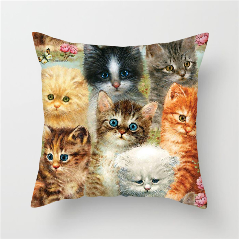 Fuwatacchi Cute Animals Cushion Covers Cats Dog Farm Life Views Pillow Covers for Home Chair Sofa Decor Flowers Pillowcases image