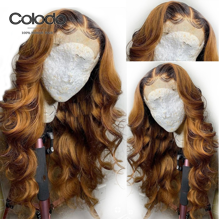 COLODO Preplucked 1B/27 Body Wave Lace Front Wig Remy Brazilian Hair Glueless Honey Blonde Ombre Human Hair Wigs For Black Women