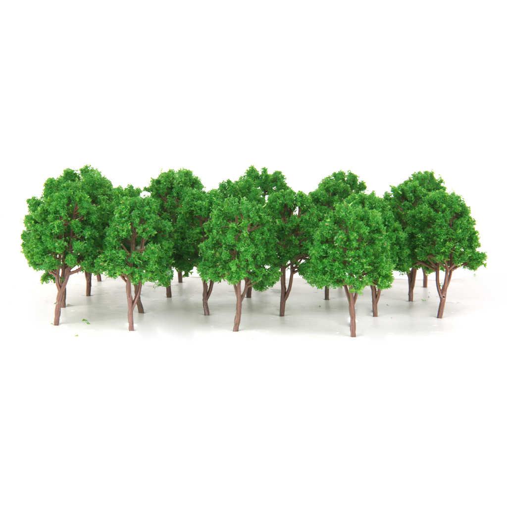 40pcs Plastic Model Tree Forest Greenery Plants Z Gauge Building Park Garden Miniature Landscape Wargame Scenery Supplies