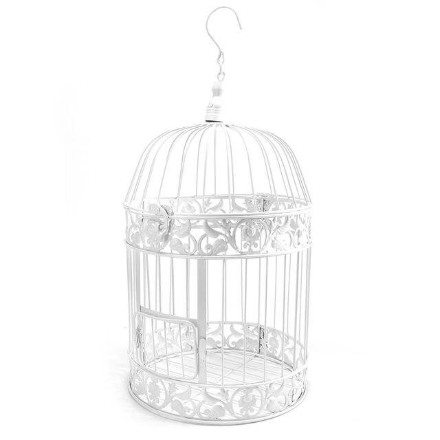 online shop kiwarm vintage iron white wedding bird cage storage card Squirrel Cage Design kiwarm vintage iron white wedding bird cage storage card holder bridal showers hanging decor gift party ornament