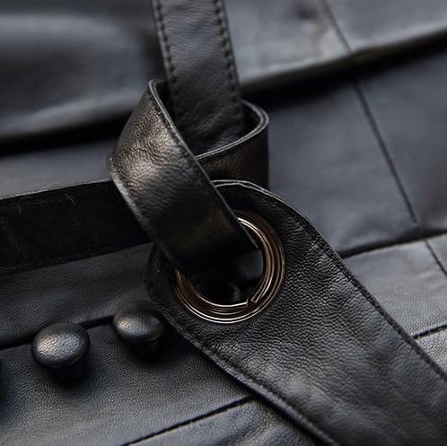 Classique Manches Manteau En Véritable Printemps Peau Longues Coupe vent Femmes Slim Veste Mode Black Pour De Mouton À Cuir Gours Dames v1qt8w8