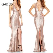 Genuo women golden sequin dress Sexy v neck backless dinner party High grade Bridesmaid elegant lady one-piece