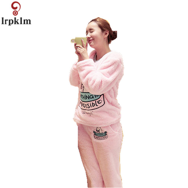 Women Pajamas Christmas Unicorn Winter Thick Night Wear Clothes Cartoon  Suits Flannel Fall Leisure Clothing Female Pajama JW296 b11ae11c0