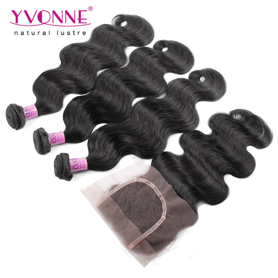 Grade 7A Unprocessed Brazilian Virgin Hair With Closure, 3Pcs YVONNE Brazilian Body Wave With Closure, 100% Human Hair