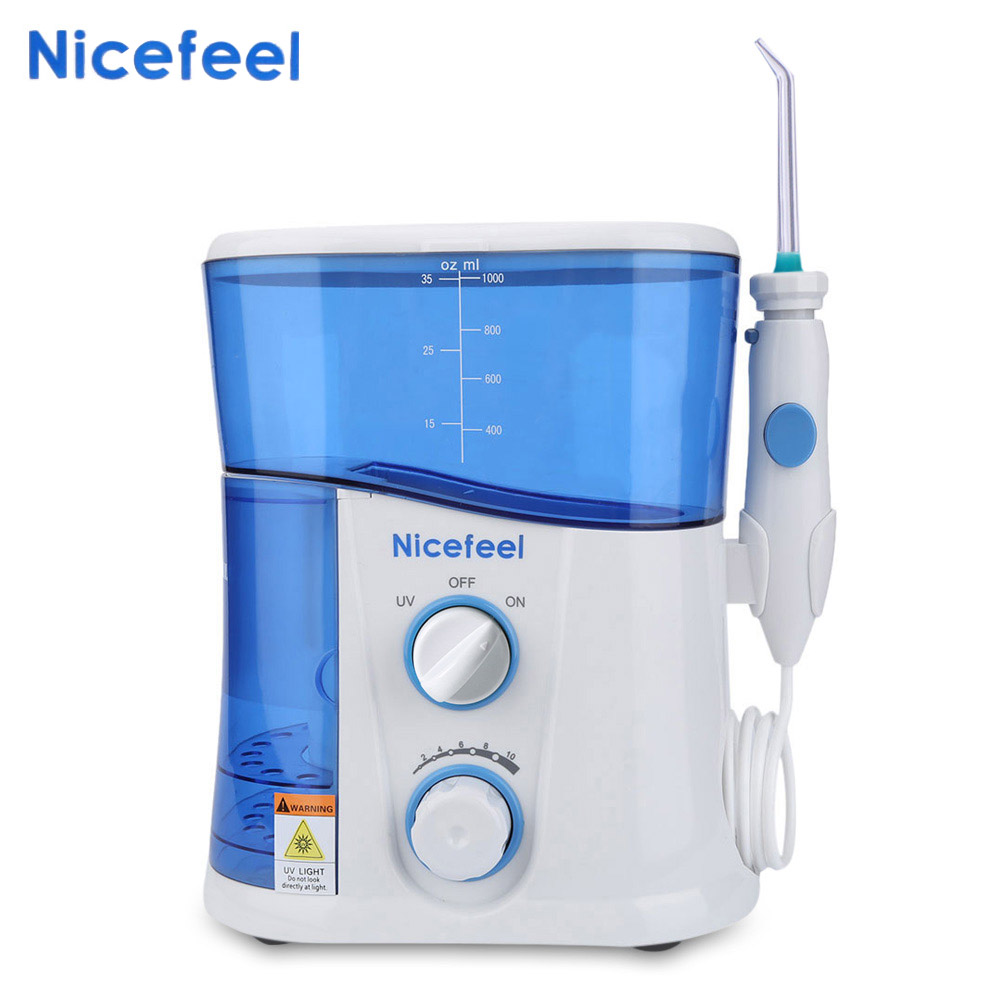 Nicefeel 1000ML Água Flosser Irrigador Oral Dental Floss Oral Irrigador Dental Spa Unidade Profissional 7Pcs Ponta de Jato de Água tanque