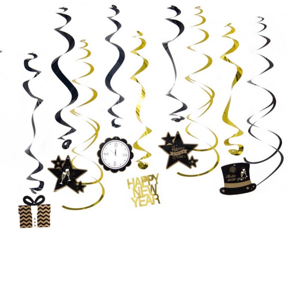 Happy New Year Hanging Swirl Decorations 2019 New Year ...