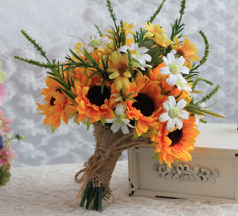 2016 Country Style Artificial Sunflower Wedding Bouquet