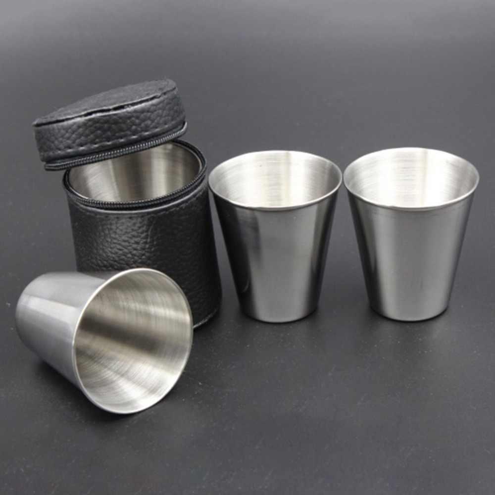 1 pièces/4 pièces 30ml en plein air pratique en acier inoxydable tasses coups ensemble Mini verres pour Whisky vin Portable ensemble de Drinkware