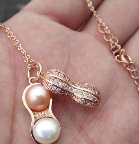Peanut Pearl Pendant Necklace Chain Women's rose Gold Filled Charm Gift