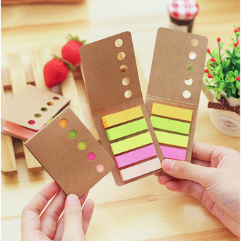 Kawaii Cute Kraft Paper Solid Color Sticker Bookmark Marker Memo Pad Flags Sticky Note Stationery School Office Supplies sl1279