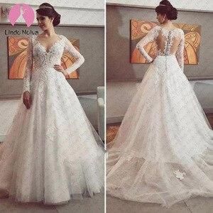 Image 1 - ホット販売ロングスリーブウェディングドレス A ラインスクープ 2019 アップリケレース Vestido デ Noiva 花嫁花嫁のためのローブ · デ · マリアージュ