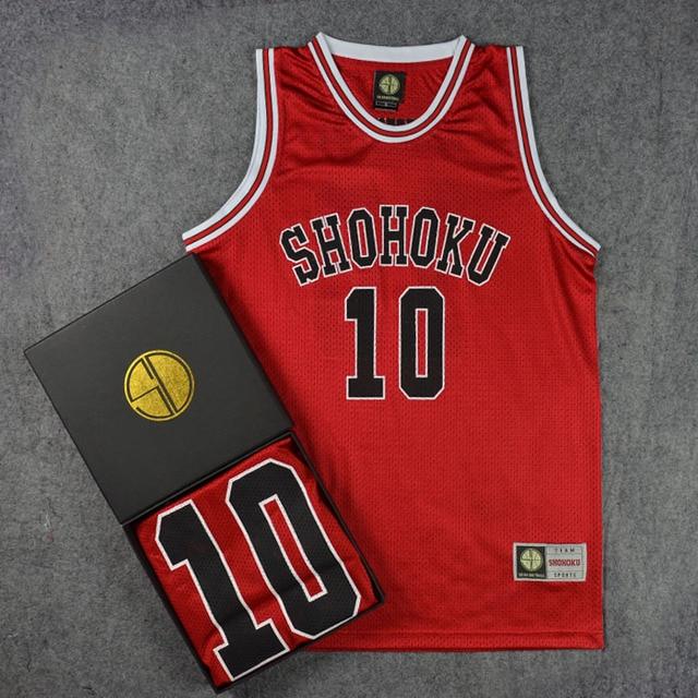 8b2aa726b61 Anime SLAM DUNK Cosplay Costume Shohoku 10 Sakuragi Green Basketball Jersey  Tops Shirt Sport Wear School Basketball Team Uniform