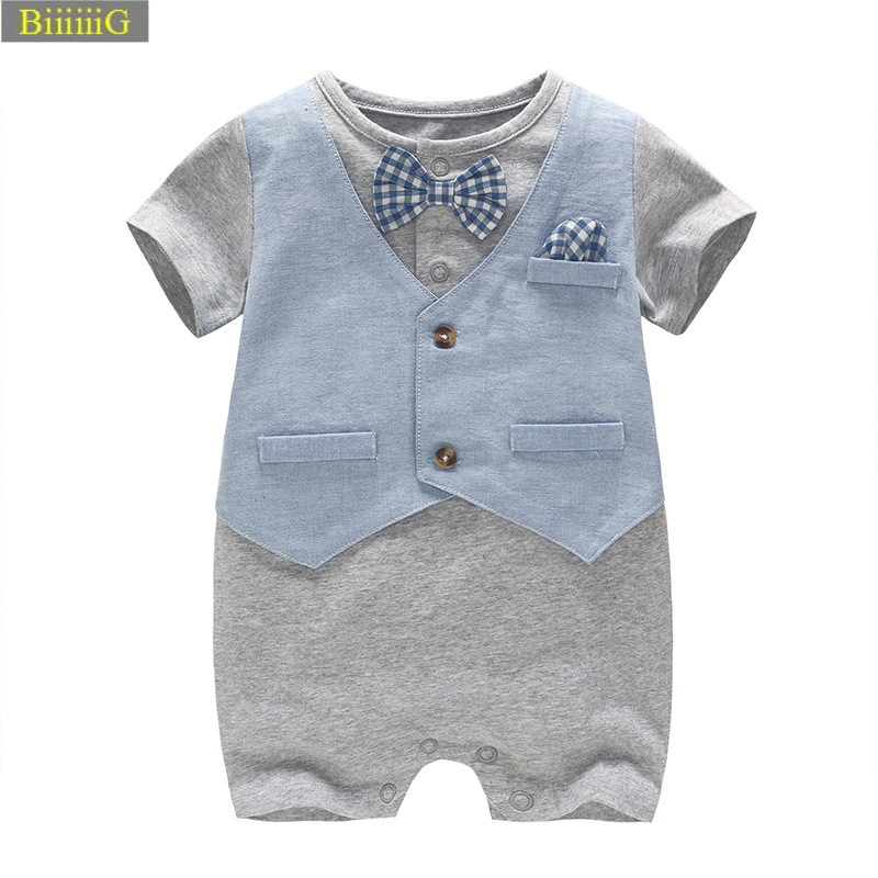 Summer Fashion Baby Rompers Fake Two-piece Set Kids Tie Bow Boy Romper Baby Pure Cotton Short Sleeves Siamese Clothes Toddler 78 nyan cat baby boy clothes short sleeves gentleman bow tie vest romper hat 2pcs set outfit jumpsuit rompers party cotton costume