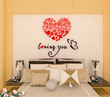 5 Size Colorful Multi-Pieces Love Heart Pattern 3D Acrylic Decoration Wall Sticker DIY Wall Poster Home Decor Bedroom Wallstick цена