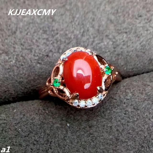 مجوهرات فاخرة من KJJEAXCMY من الفضة الإسترليني عيار 925 بحلقة من المرجان الأحمر للإناث ويمكن اختيار الشهادة من الفضة