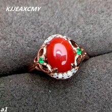 KJJEAXCMY Güzel takı 925 Ayar Gümüş kırmızı mercan ile kadın yüzük ve gümüş sertifikası seçilebilir