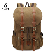 Vintage Leather Canvas Men Bags School Satchel for Men Backpack Casual Unisex Laptop Travel Bag Girl Military Laptop Bag 8192