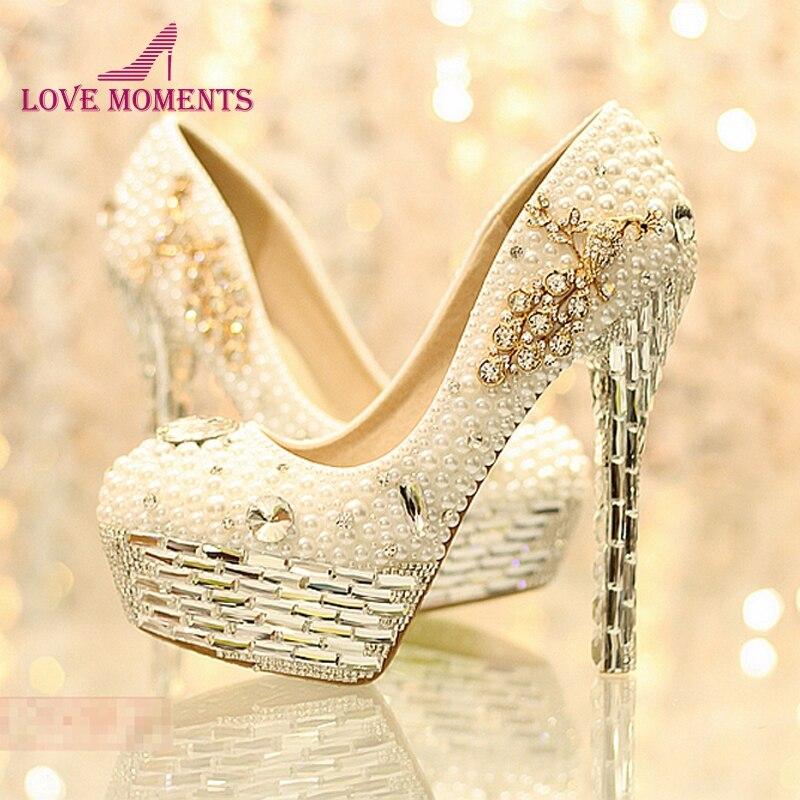 Newest Rhinestone White Pearl Wedding Shoes Crystal Tassels Bride Wedding Shoes Women