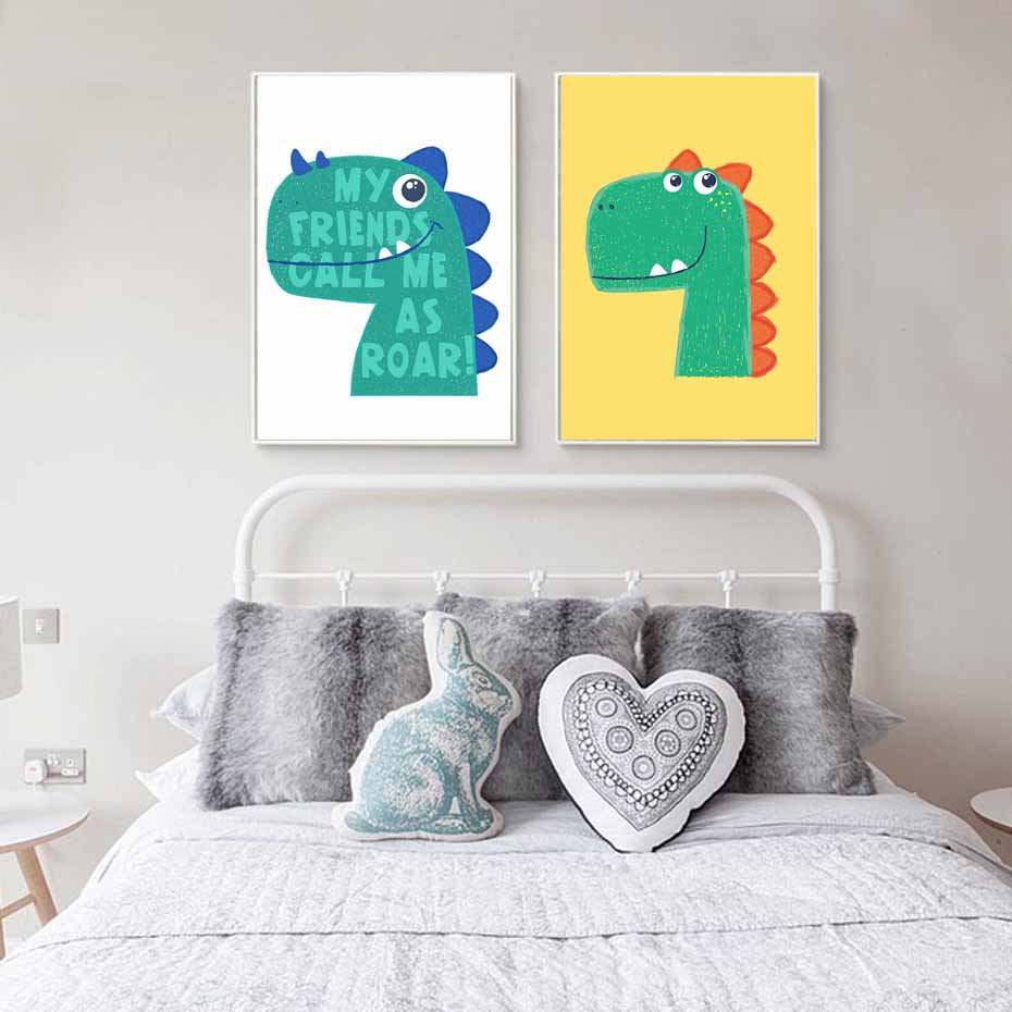 Nordic cartoon dinosaur canvas painting cute animal art for Dinosaur pictures for kids room