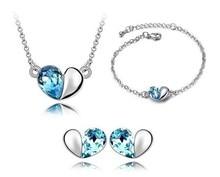 OMH wholesale OL Style 18KT white gold Austrian crystals fashion Pendant heart Earrings + necklace + bracelet Jewelry set 4375
