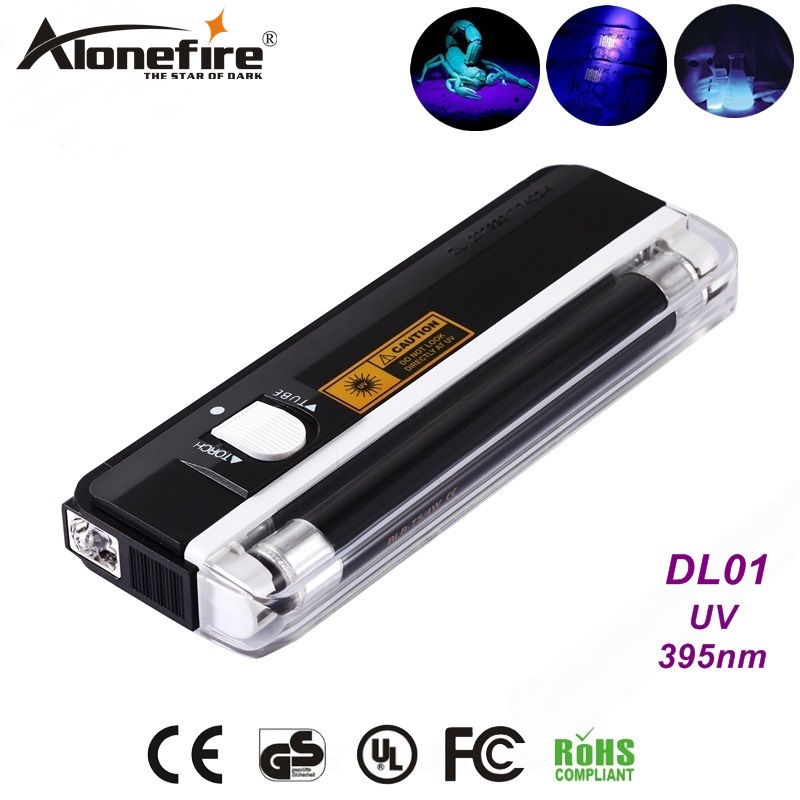 AloneFire DL 01 Handheld blacklight UV Light white Light Flashlight Torch Money Detector ID Anti-fake detection lamp AA Battery