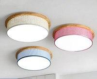 Nórdico moderno simples lâmpada do teto de madeira sala de estar quarto criativo tecido de cor LED lâmpada do teto frete grátis Luzes de teto    -