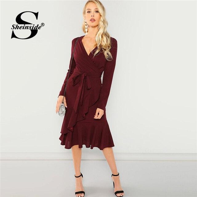 5baa8c1cbf Sheinside Burgundy Elegant Tie Waist Ruffle Hem Surplice Wrap Dress V Neck  2018 Autumn Office Ladies Long Sleeve Casual Dresses
