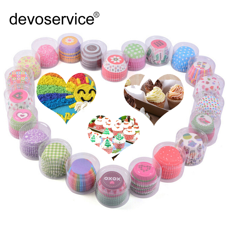 100Pc Set Cupcake Paper Color Cupcake Baking Muffin Box Cup Case Party cake decoration Cupcake Paper Cake Mold Baking Tools Cup in Cake Molds from Home Garden