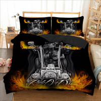 3D Skull Fire Halle Moto cool duvet cover bedding set single twin full queen king size polyster bedlinen dropship