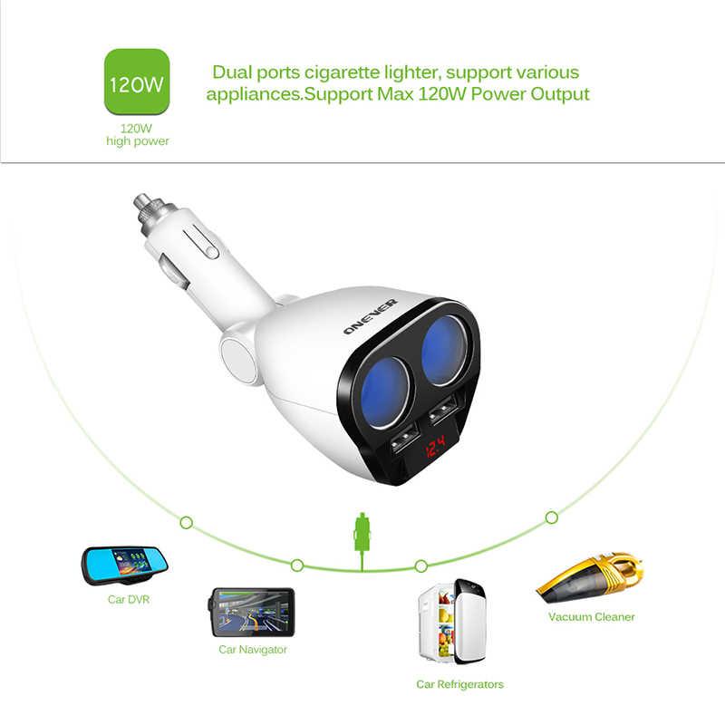 ONEVER 120 W Dual USB Автомобильное Зарядное устройство Авто-прикуриватели гнездо Splitter Max 3.4a Адаптеры питания Зарядное устройство для iPhone 7 Samsung Galaxy S8
