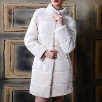 Invierno Largo Abrigo de Cuello alto Raya Blanca Faux Abrigo de piel de Visón damas de Imitación Falsa Piel De Conejo Abrigos abrigos de marca mujer 4XL